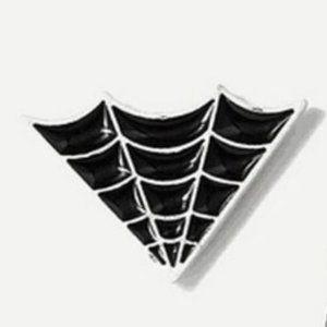 5/$24 Black White Spider Web Pin Brooch Halloween